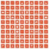 100 militaire middelenpictogrammen geplaatst grunge sinaasappel Royalty-vrije Stock Afbeelding