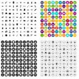 100 militaire middelenpictogrammen geplaatst vectorvariant Stock Afbeeldingen