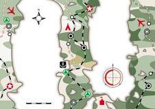 Militaire Navigatiekaart Cartografisch infographic boekje met camouflagepatroon Kaartlay-out, beeldverhaalachtergrond stock illustratie