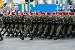 Militaire parade voor de Oekraïense Onafhankelijkheidsdag Stock Foto