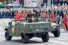 Militaire parade voor de Oekraïense Onafhankelijkheidsdag Stock Afbeeldingen