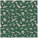 Militaire pictogrammen en Achtergrond Stock Foto