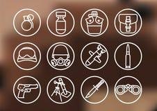 Militaire pictogramreeks Stock Fotografie