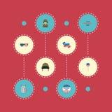 Militaire plat d'icônes, insigne des Etats-Unis, vacances et d'autres éléments de vecteur L'ensemble de symboles plats commémorat illustration libre de droits