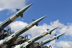 Militaire raketten, hemel Stock Foto's