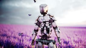 Militaire robot, cyborg met kanon op lavendelgebied concept de toekomst Realistische 4K animatie stock video