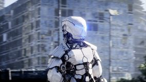 Militaire robot in vernietigde stad Toekomstig apocalypsconcept Realistische 4K animatie royalty-vrije illustratie