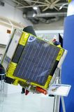 Militaire satelliet bij de tentoonstelling stock foto