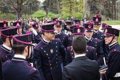 Militaire schoolkadetten in de eedceremonie stock afbeeldingen