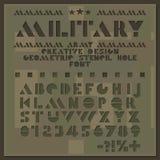 Militaire stencildoopvont Ruw besnoeiings geometrisch alfabet Gatenletters en getallen zonder serif Creatief ontwerp vector illustratie