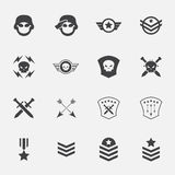 Militaire symboolpictogrammen Vector Illustratie Royalty-vrije Stock Foto's