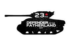 Militaire Tank Gelukkige Verdediger van de Dag van het Vaderland 23 Februari Royalty-vrije Stock Foto's