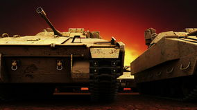 Militaire Tanks, Naadloze Lijn royalty-vrije illustratie