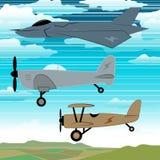 3 militaire vliegtuigen die samen met wolkenborduurwerk vliegen Stock Foto's