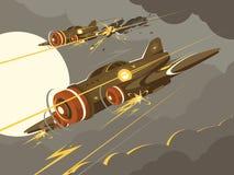 Militaire vliegtuigen in luchtgevecht vector illustratie