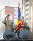 12/01/2018 - Militaire vormingen die de Roemeense Nationale Dag in Timisoara, Roemenië vieren royalty-vrije stock afbeeldingen
