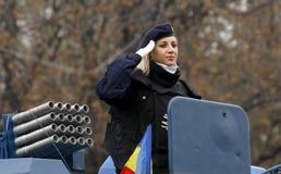 Militaire vrouw in de legerkrachten Royalty-vrije Stock Fotografie