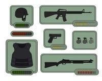 Militaire wapenspictogrammen Spelmiddelen Royalty-vrije Stock Afbeelding