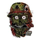 Militaire zombie met mes in mond Stock Afbeelding