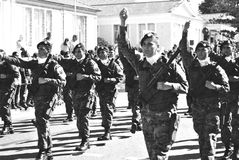 Militairen bij een parade Stock Fotografie