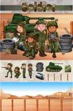 Militairen die op het slaggebied vechten Stock Afbeelding