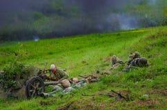 Militairen en explosies Stock Foto's