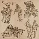 Militairen, Leger - een hand getrokken vectorinzameling Strijders aroun stock illustratie