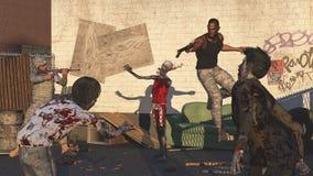 Militairen onder belegering door zombieën Royalty-vrije Stock Foto's