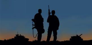 Militairen op de prestaties van de gevechtsopdracht Stock Foto