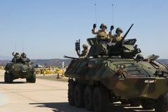 Militairen in pantserwagens Royalty-vrije Stock Foto
