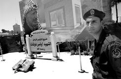 Militairen standig in ramallah Stock Foto's
