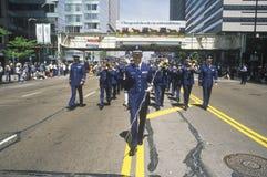 Militairen van de Luchtmacht die in het Legerparade van Verenigde Staten marcheren, Chicago, Illinois royalty-vrije stock afbeeldingen