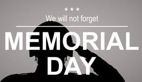 Militairsilhouet die de vlag van de V.S. groeten voor herdenkingsdag Wij zullen geen slogan vergeten Stock Foto's