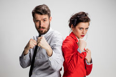 The militant business man and woman Stock Image