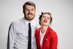 The militant business man and woman Stock Photos