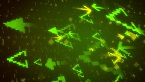 Abstract stepped arrows opposing each other. Militant 3d rendering of small yellow darts opposing big light green star stepped arrows with a lot of  dots, spots Royalty Free Stock Photos