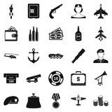 Militant icons set, simple style. Militant icons set. Simple set of 25 militant vector icons for web isolated on white background Stock Photography