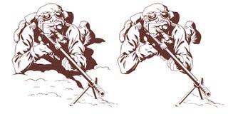 Militar con el rifle de francotirador Ilustración común stock de ilustración