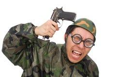 Militar con un arma aislado en blanco Imágenes de archivo libres de regalías