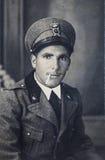 Militar original del italiano del retrato de la foto del vintage 30s Imágenes de archivo libres de regalías