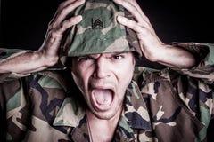 Militar que grita Foto de Stock Royalty Free