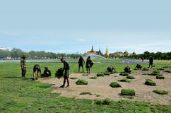 Militar renovate The royal field (Sanam Luang) Stock Images