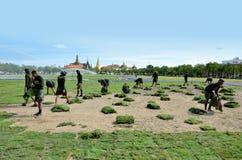 Militar renovate The royal field (Sanam Luang). BANGKOK, THAILAND - AUGUST 25 : Military renovate The royal field (Sanam Luang) on 25 August 2012 at Bangkok Stock Photos