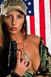 militar sinnlig kvinna Fotografering för Bildbyråer