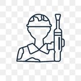 Militar vector icon on transparent background, linear M stock illustration