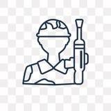 Militar vektorsymbol på genomskinlig bakgrund, linjärt M stock illustrationer