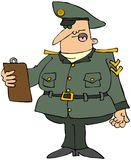 Militare con i appunti illustrazione di stock