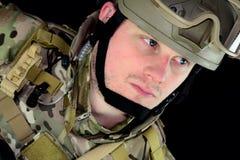 Militare con i pollici in su Fotografia Stock