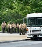 Militares americanos que esperan para subir a un autobús militar Foto de archivo libre de regalías