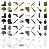 Militari ed icone stabilite dell'esercito nello stile del fumetto La grande raccolta dei militari e l'esercito vector l'illustraz Fotografie Stock